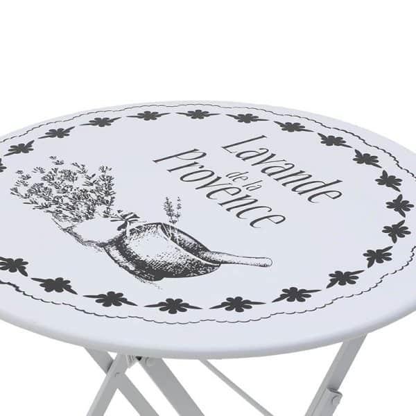 Inart Σετ Τραπέζι Με 2 Καρέκλες Λευκό-Ελεφαντόδοντο Σίδερο
