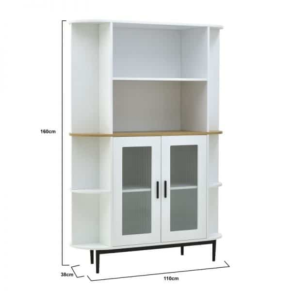Inart Βιτρίνα Φυσικό μπεζ,Λευκό-Ελεφαντόδοντο Σίδερο Beech 110x38x160 cm