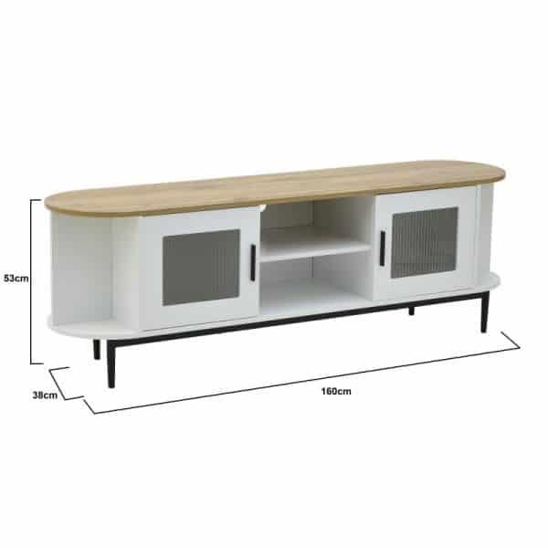 Inart Έπιπλο TV Φυσικό μπεζ,Λευκό-Ελεφαντόδοντο Σίδερο Birch 160x38x53 cm