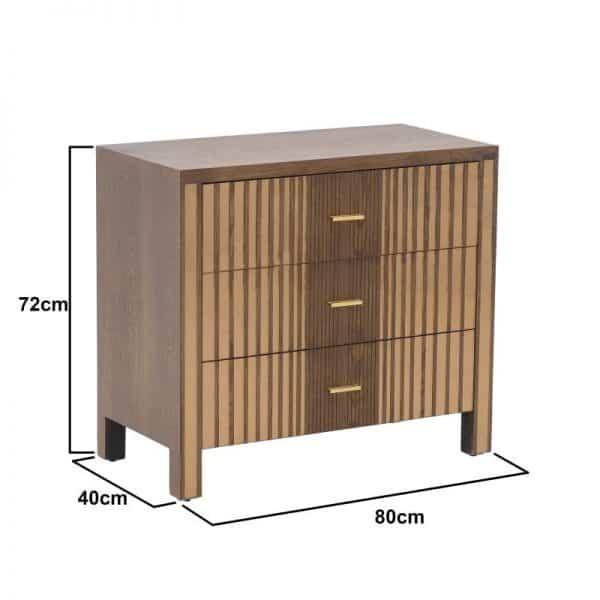 Inart Συρταρτιέρα Φυσικό μπεζ  Fir  Γυαλί 80x40x72 cm