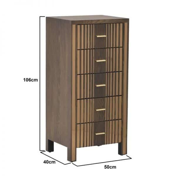 Inart Συρταριέρα Φυσικό μπεζ  Fir  Γυαλί 50x40x106 cm