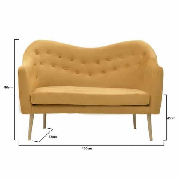 Inart 2θέσιος Καναπές Κίτρινο-πορτοκαλί   Συνθετικό / ΠΟΛΥΕΣΤΕΡ 130x74x86 cm