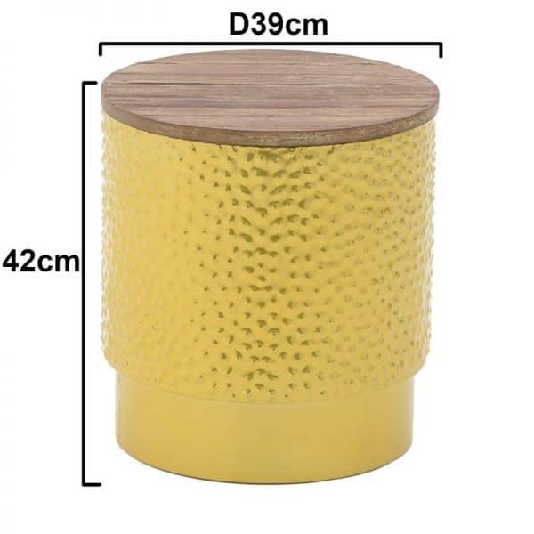 Inart Σκαμπο Χρυσό Σίδερο Fir 39x39x47 cm