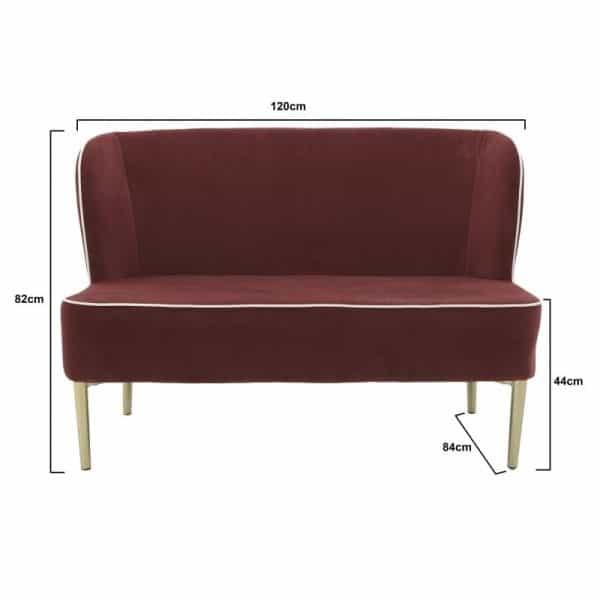 Inart 2θέσιος Καναπές Κόκκινο Σίδερο  Συνθετικό / ΠΟΛΥΕΣΤΕΡ 140x45x80 cm