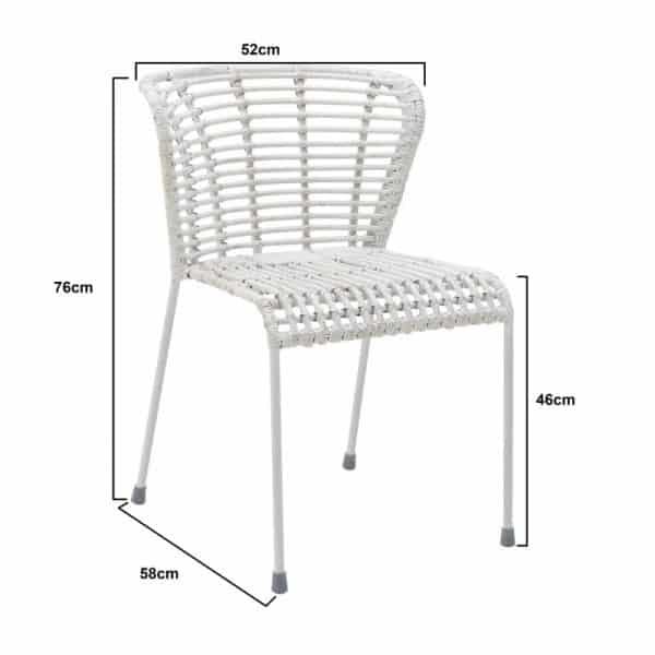 Inart Καρέκλα Ραττάν Λευκό-Ελεφαντόδοντο Σίδερο 52x58x76 cm