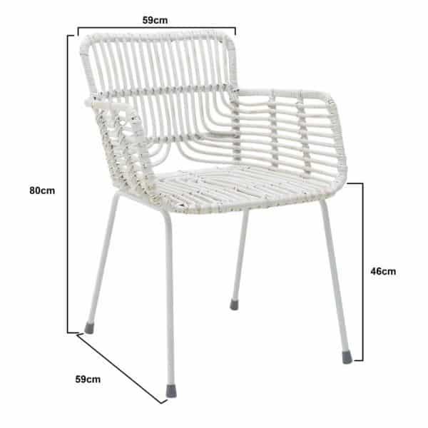Inart Καρέκλα Ραττάν Λευκό-Ελεφαντόδοντο Σίδερο 59x59x80 cm