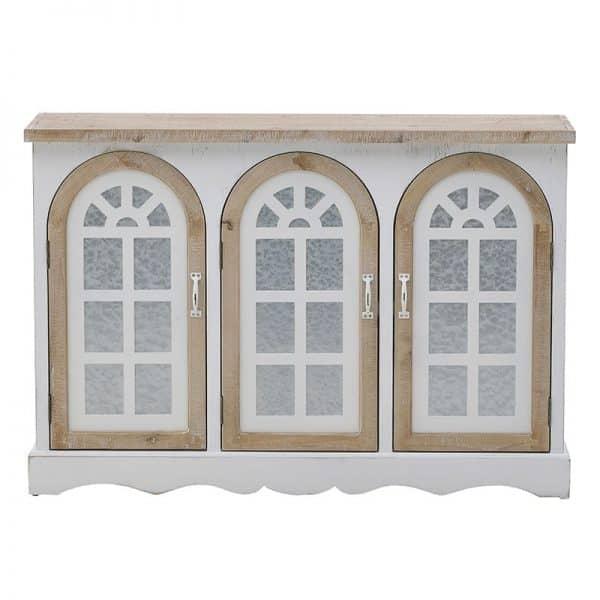 Inart Μπουφές Φυσικό μπεζ,Λευκό-Ελεφαντόδοντο  MDF,Fir 120x35x82 cm
