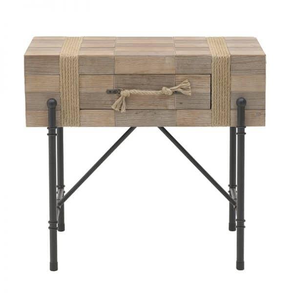 Inart Κονσόλα Μαύρο,Φυσικό μπεζ Σίδερο Fir 80x45x75 cm