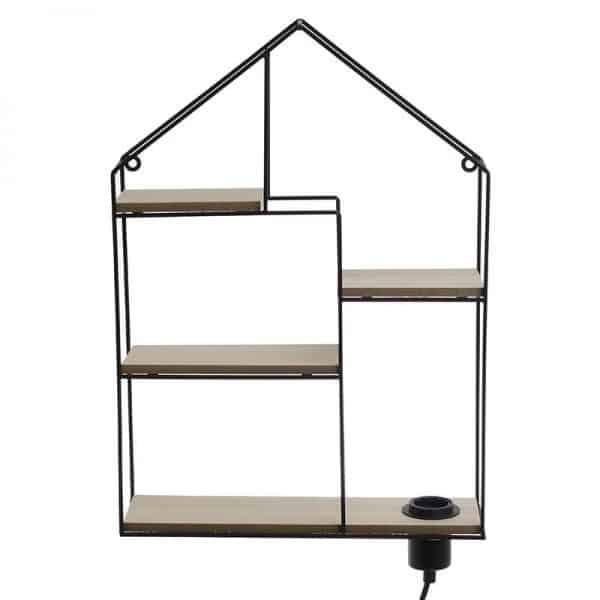 Inart Ραφιέρα Τοίχου Με Φως Φυσικό μπεζ,Μαύρο Σίδερο MDF 36x10x50 cm