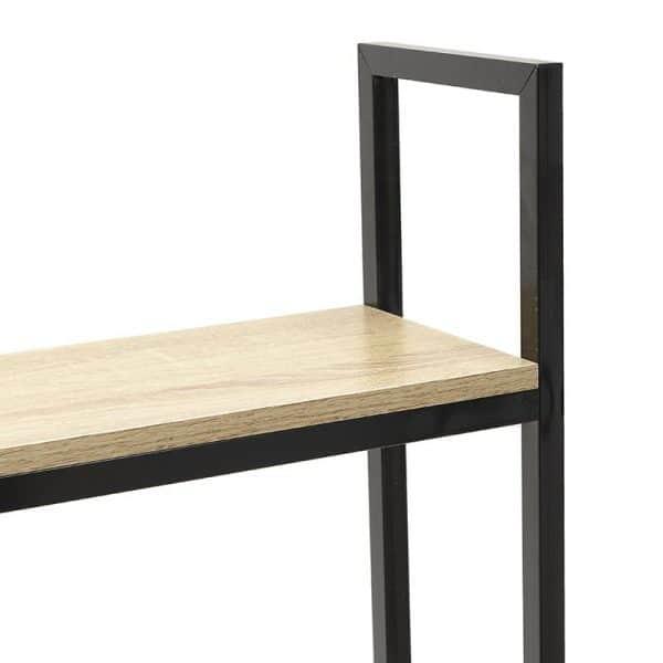 Inart Γραφείο/Ραφιέρα Μαύρο,Φυσικό μπεζ Ανοξείδωτο Aτσάλι 120x60x138 cm