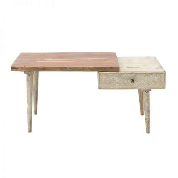 Inart Ξύλινο Τραπέζι Καφέ,Φυσικό μπεζ  Μάνγκο,Acacia 100x60x45 cm