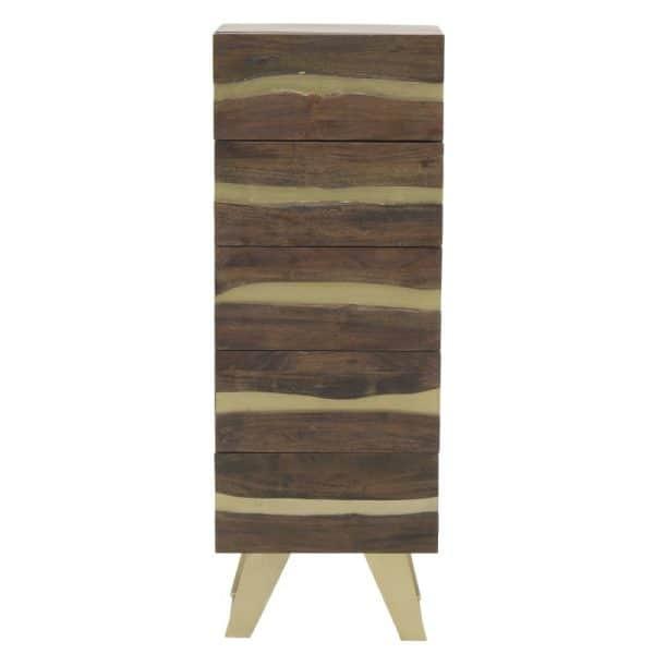Inart Ξύλινη Συρταριέρα Καφέ,Χρυσό Σίδερο Μάνγκο 45.5x35.5x125 cm