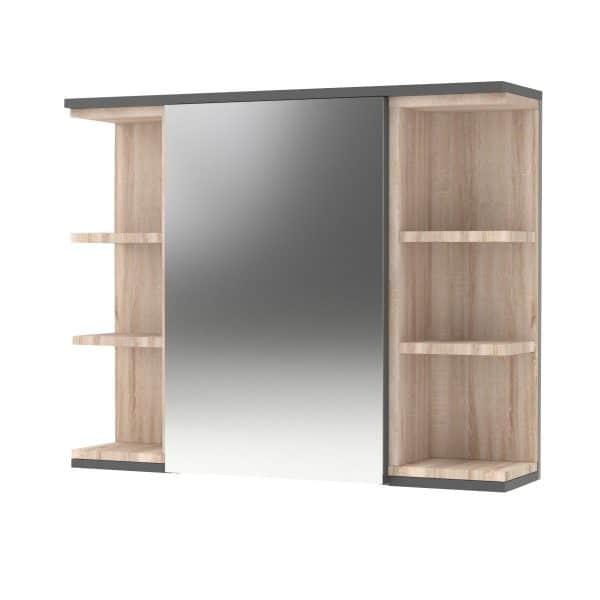 Καθρέπτης Μπάνιου LOTUS Με Ντουλάπι Γραφίτης-Σονόμα 79.6x20x64εκ