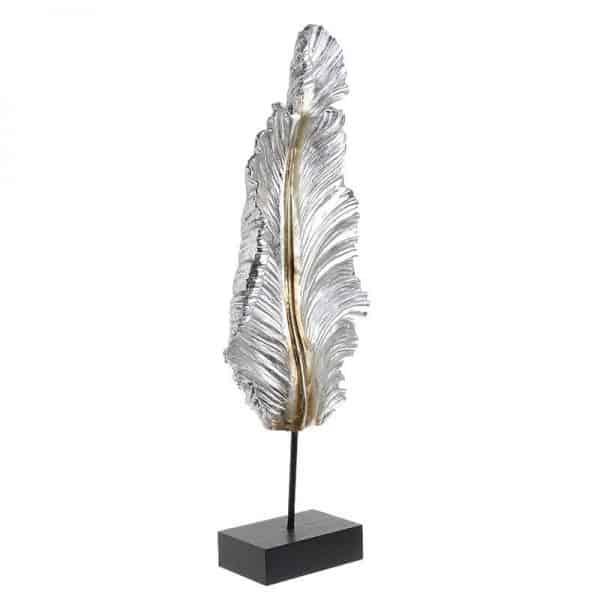 Inart Διακοσμητικό Φτερό Χρυσό,Ασήμι    Πολυρεσίνη 22x9x60 cm