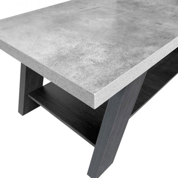 BANJI COFFEE TABLE 120x60x46Ycm CEMENT ΕΠΙΦΑΝΕΙΑ/BLACK OAK ΠΟΔΙΑ