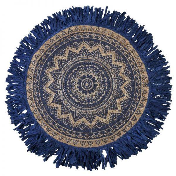 Inart Κιλίμι Chindi Φ120 Μπλε,Φυσικό μπεζ   Βαμβάκι 120x1x120 cm
