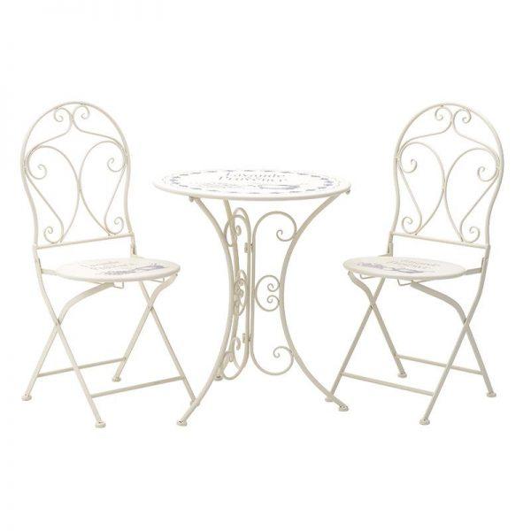 Inart Σετ Τραπέζι Με 2 Καρέκλες Λευκό-Ελεφαντόδοντο Σίδερο 60x60x70 cm