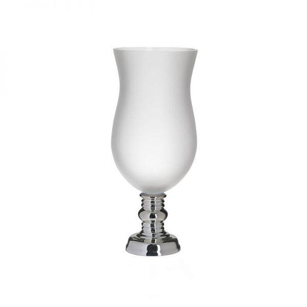 Inart Βάζο Λευκό-Ελεφαντόδοντο,Ασήμι    Γυαλί 17x17x47 cm