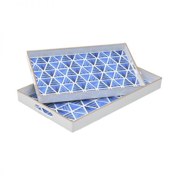 Inart Δίσκος Σετ Των 2 Μπλε    Πλαστικό 46x30x4 cm
