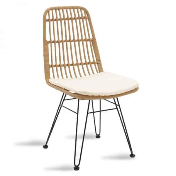 Καρέκλα κήπου Naoki pakoworld pe φυσικό-μέταλλο μαύρο