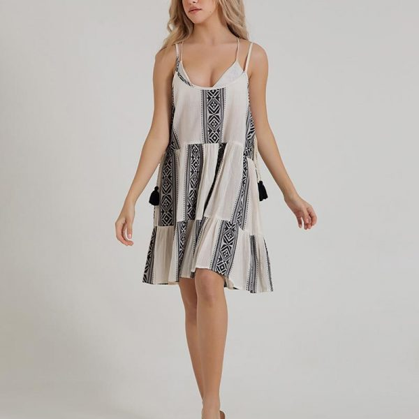 Inart Φόρεμα Μακρύ Ασπρόμαύρο   Βαμβάκι
