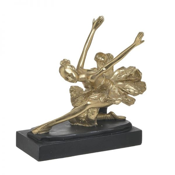 Inart Αγαλματίδιο Μαύρο,Χρυσό    Πολυρεσίνη 22x14x23 cm