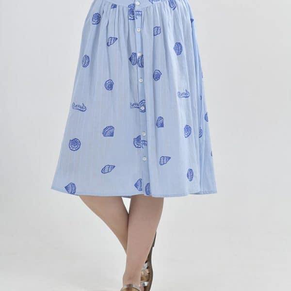 Inart Midi Φούστα Μπλε   Βαμβάκι