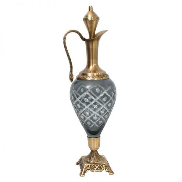 Inart Διακοσμητική Καράφα Γκρί,Χρυσό Σίδερο   Γυαλί 13x13x50 cm