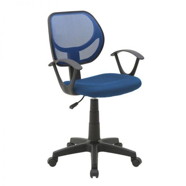 Inart Καρέκλα Γραφείου Μαύρο,Μπλε 56x56x95 cm