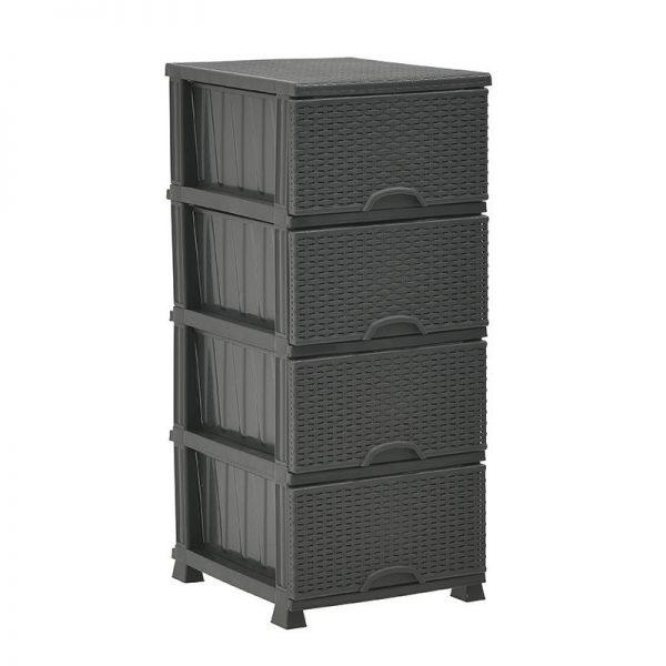 Inart Συρταριέρα PL Μαύρο    Πλαστικό 38x46x90 cm