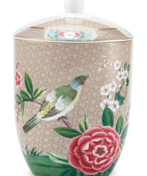 Βάζο Αποθήκευσης Πορσελάνης Pip Studio Blushing Birds Khaki 1.5Ltr