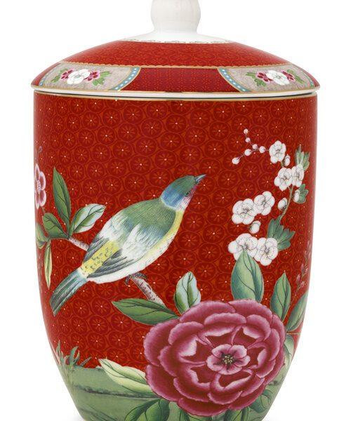 Βάζο Αποθήκευσης Πορσελάνης Pip Studio Blushing Birds Red 1.5Ltr