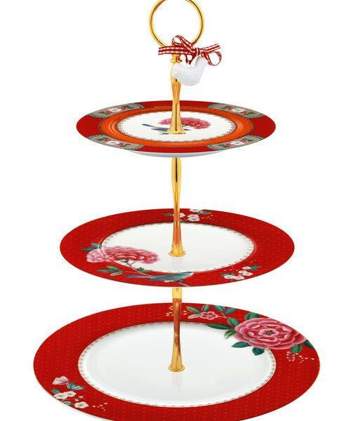 Τριώροφη Πιατέλα Πορσελάνης Pip Studio Blushing Birds Red 17-21-26.5cm