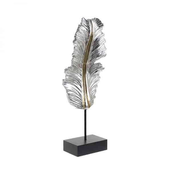 Inart Διακοσμητικό Φτερό Χρυσό,Ασήμι    Πολυρεσίνη 17x9x49 cm