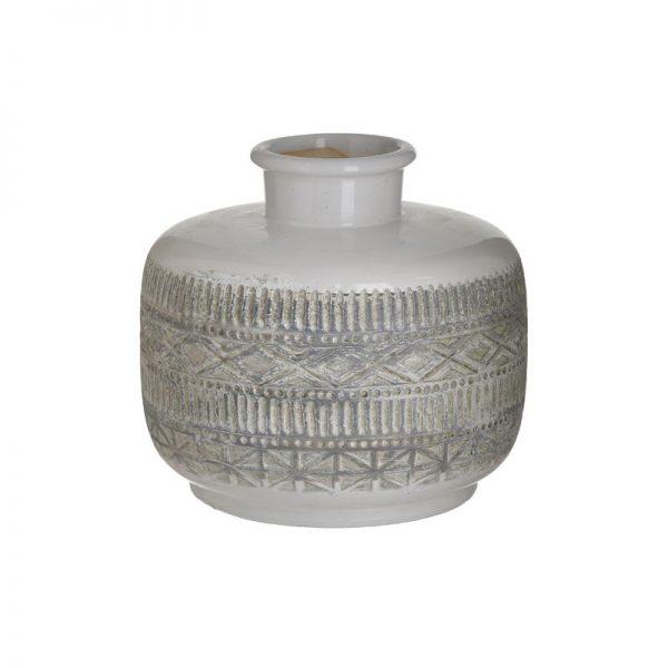 Inart Βάζο Λευκό-Ελεφαντόδοντο,Φυσικό μπεζ    Κεραμικό 20x20x20 cm