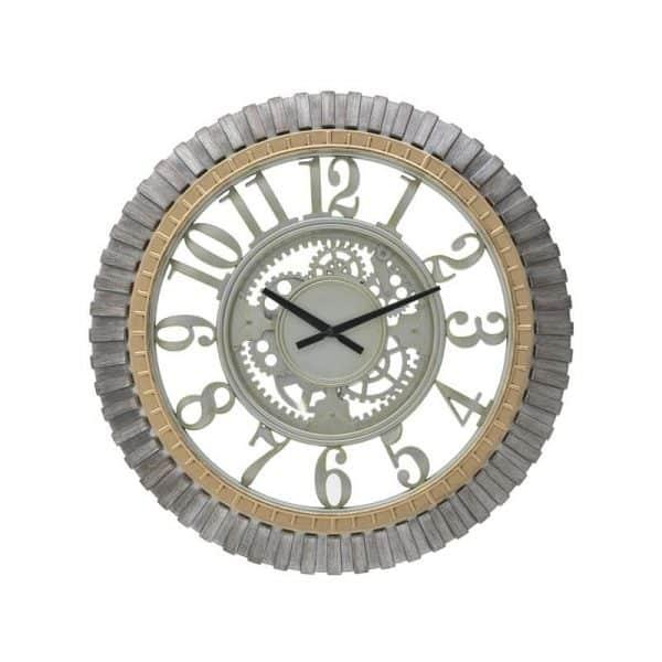Inart Ρολόι Τοίχου Χρυσό,Γκρί    Πλαστικό 59x5x59 cm