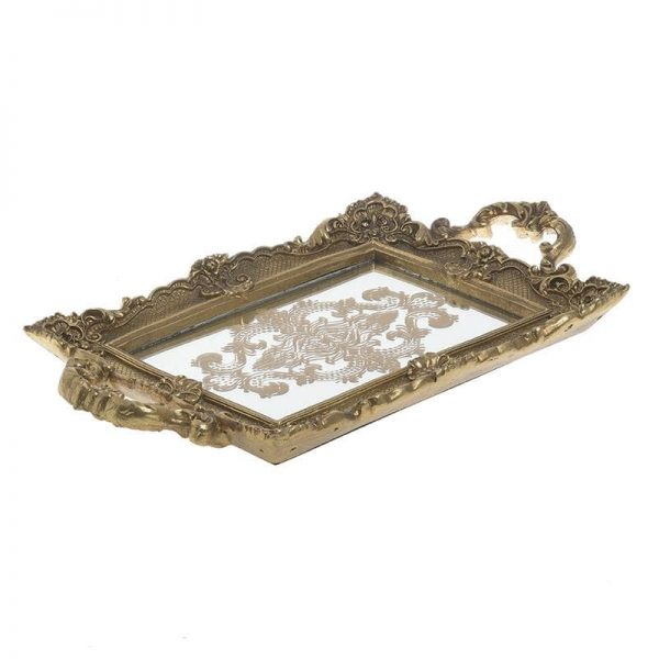 Inart Δίσκος Χρυσό    Γυαλί,Πολυρεσίνη 38x22x4 cm