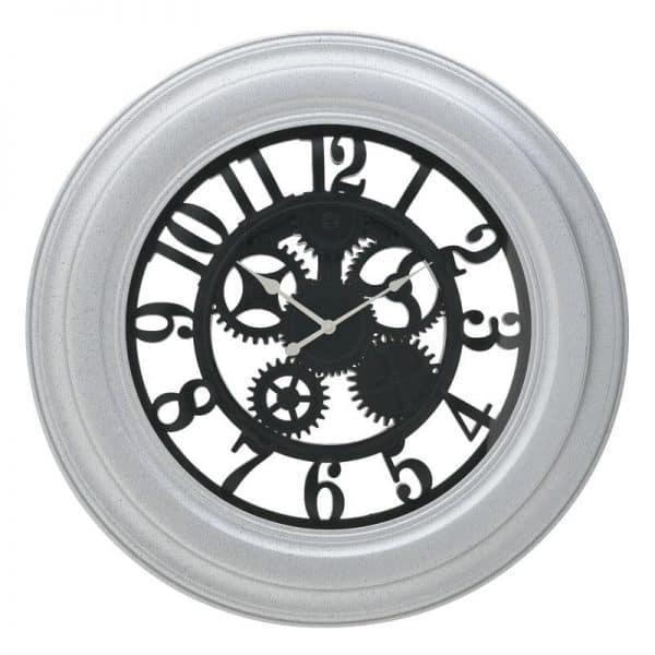 Inart Ρολόι Τοίχου Ασήμι,Μαύρο    Πλαστικό 75x5x75 cm