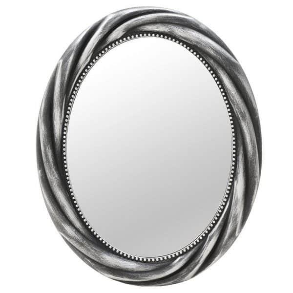 Inart Καθρέπτης Τοίχου Ασήμι,Μαύρο    Πλαστικό,Γυαλί 58x5x73 cm