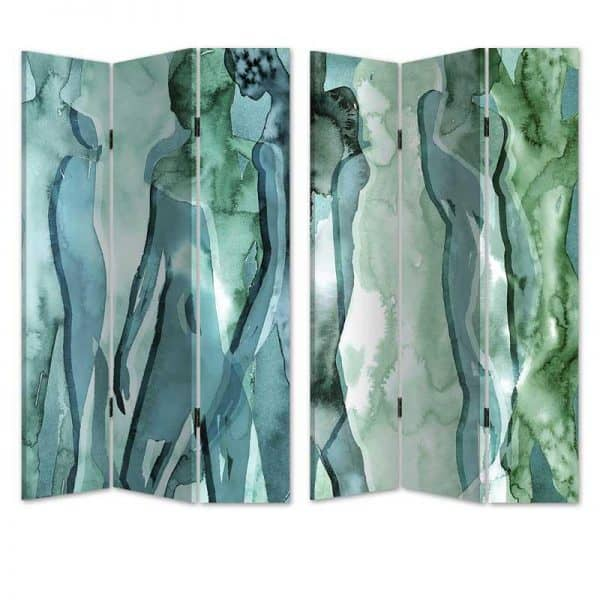 Inart Παραβάν 2 Όψεων Πράσινο  Birch Καμβάς 120x3x180 cm