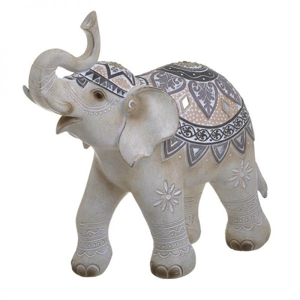 Inart Διακοσμητικός Ελέφαντας Φυσικό μπεζ    Πολυρεσίνη 27x12x27 cm