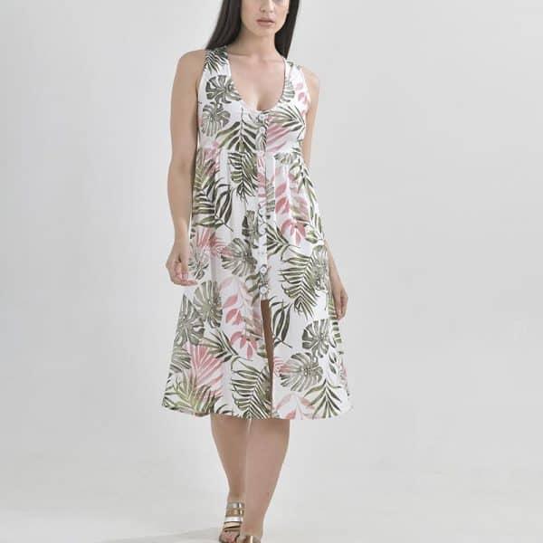Inart Midi Φόρεμα Multi   Βισκόζη