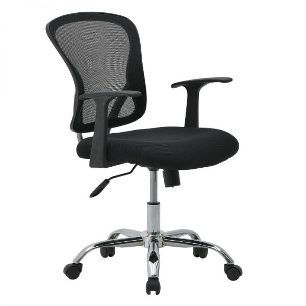 Inart Καρέκλα Γραφείου Μαύρο Σίδερο  Συνθετικό / ΠΟΛΥΕΣΤΕΡ Πλαστικό 63x67x100 cm