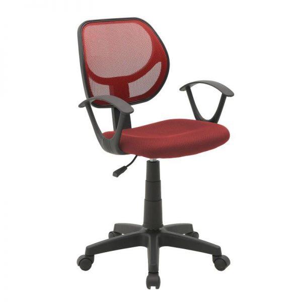 Inart Καρέκλα Γραφείου Κόκκινο,Μαύρο 56x56x95 cm