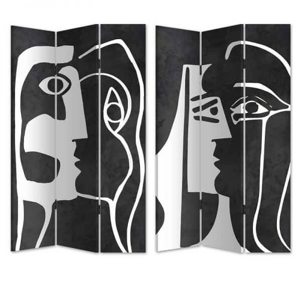 Inart Παραβάν 2 Όψεων Ασπρόμαύρο  Birch Καμβάς 120x3x180 cm