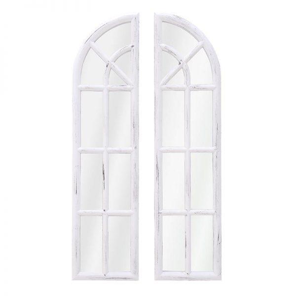 Inart Καθρέπτης Τοίχου Σετ των 2 Λευκό-Ελεφαντόδοντο    Πλαστικό,Γυαλί 40x3x81 cm
