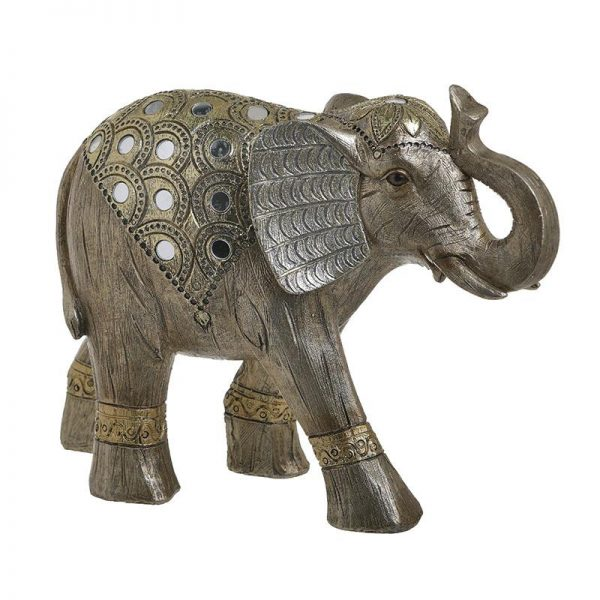 Inart Διακοσμητικός Ελέφαντας Χρυσό,Φυσικό μπεζ    Πολυρεσίνη 29x10x22 cm