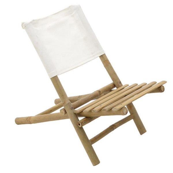 Inart Καρέκλα Μπαμπού Φυσικό μπεζ,Λευκό-Ελεφαντόδοντο  Μπαμπού Καμβάς 40x70x60 cm