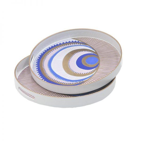 Inart Δίσκος Σετ Των 2 Multi    Πλαστικό 37x37x4 cm