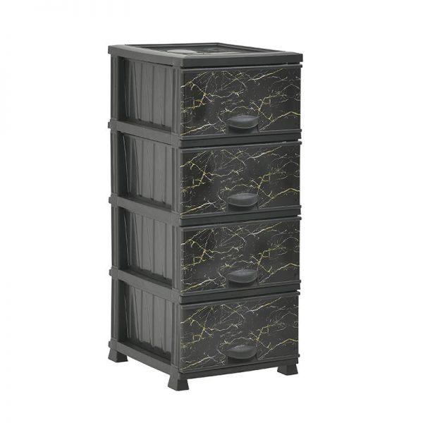 Inart Συρταριέρα PL Χρυσό,Μαύρο    Πλαστικό 38x46x90 cm